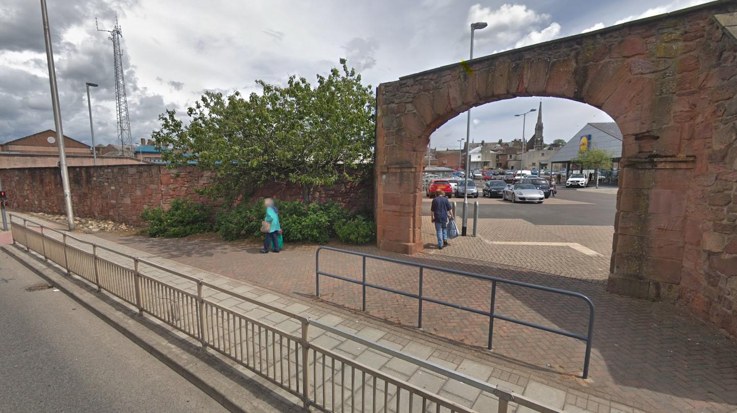 Pedestrian archway near Lidl on Burnside Drive, Arbroath.