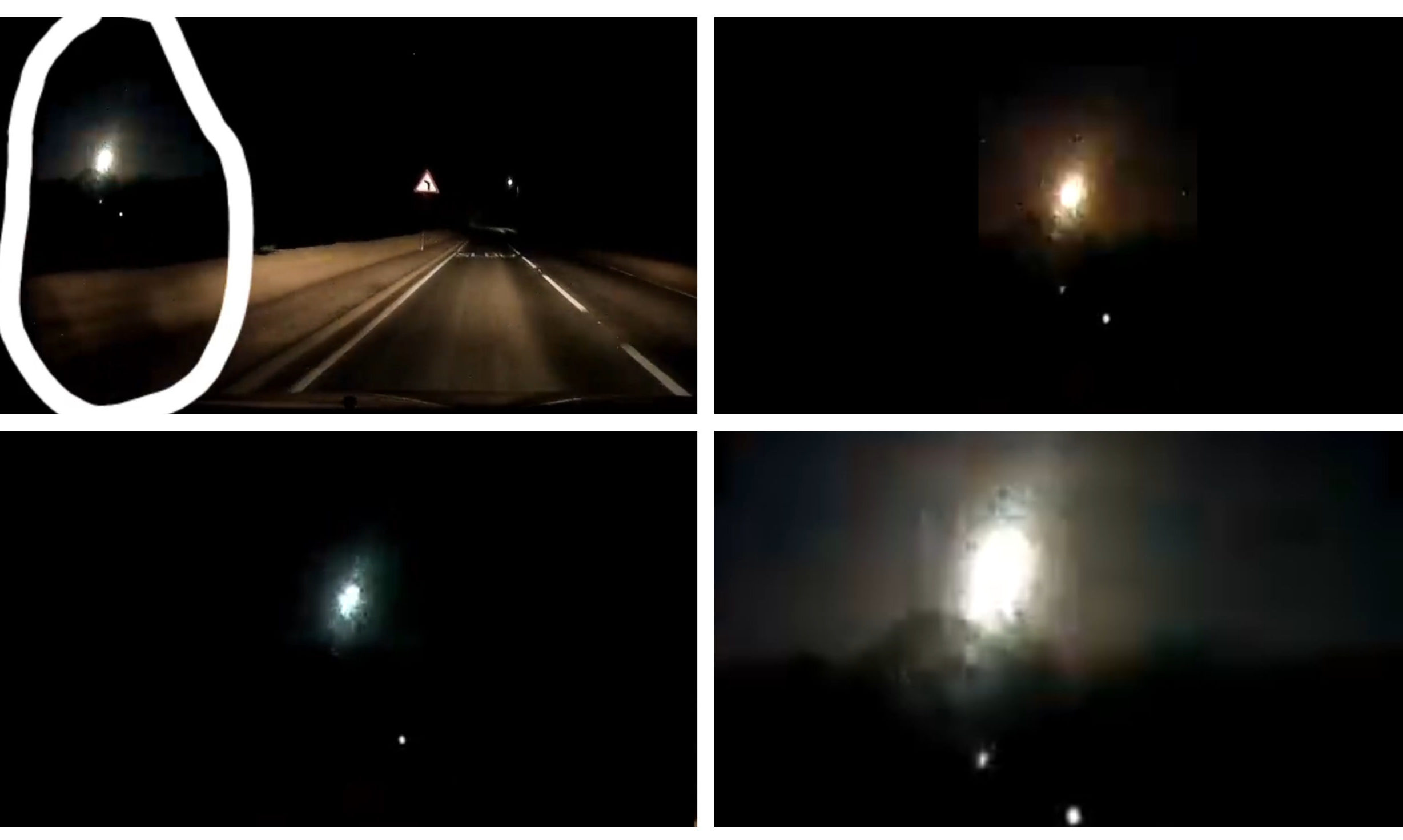 "The ""bright burning light"" in the night sky, filmed from Fife."