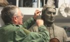 The Niel Gow memorial statue is nearing completion.
