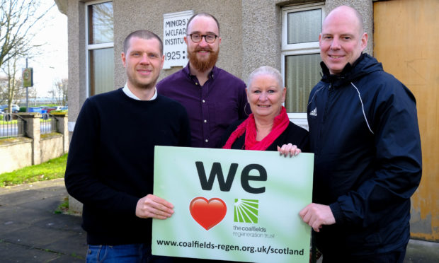 Chris Foote, Jonny Watt from the Outwith Festival, Pauline Douglas from the Coalfields Regeneration Trust, and PC Scott Morgan.