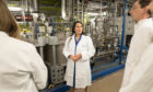 Home Secretary Priti Patel meets students and staff working on 'carbon capture' at Imperial College London in South Kensington, London, as she announces plans for a new points-based immigration system.