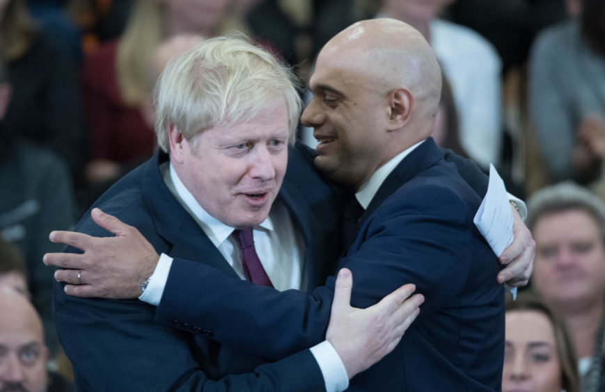 Prime Minister Boris Johnson and Chancellor Sajid Javid in happier times.