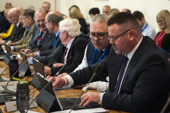 Angus Council budget meeting in 2020.