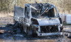 The van following the blaze near Forfar.