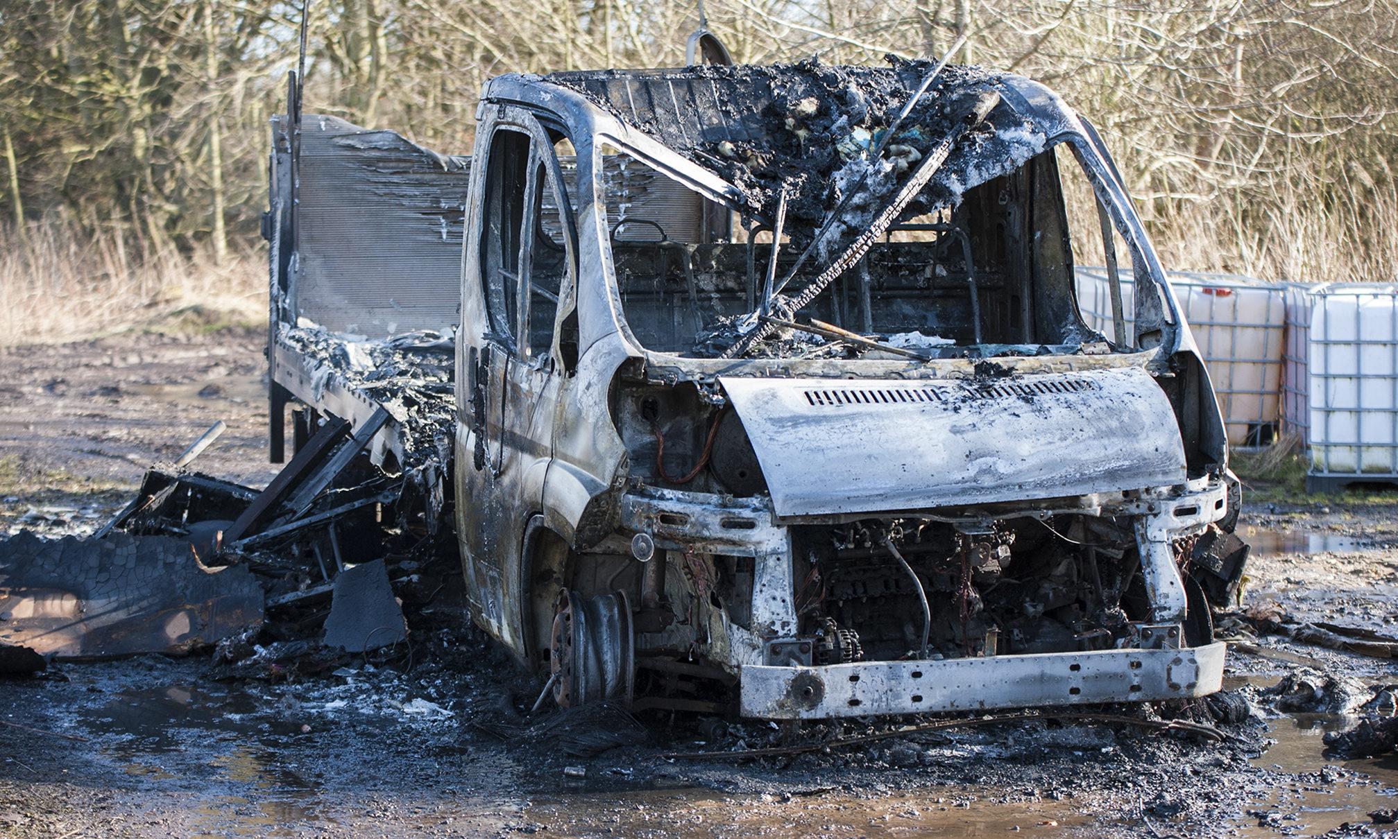 The van following the blaze near Forfar.