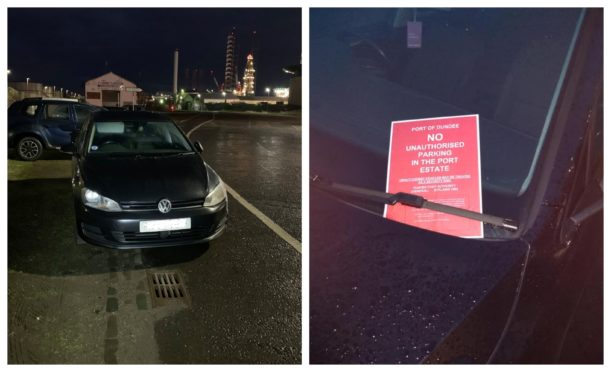 Left, a car parked on the cycle path on land owned by Forth Ports, and right, a warning notice