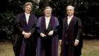 Professor MacCallum, left, with former university principal Struther Arnott and Emeritus Professor Augusto Serafini-Fracassini.