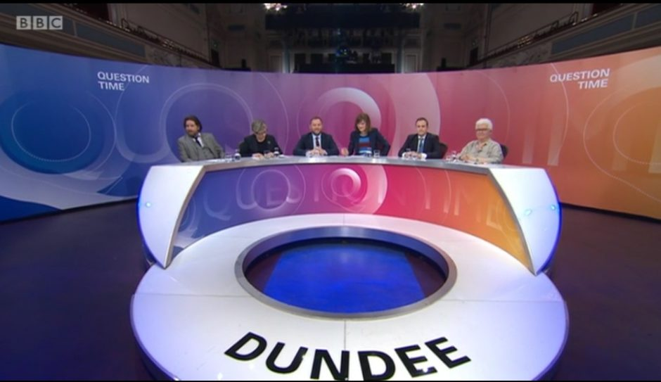 Question Time was filmed in Dundee's Caird Hall.