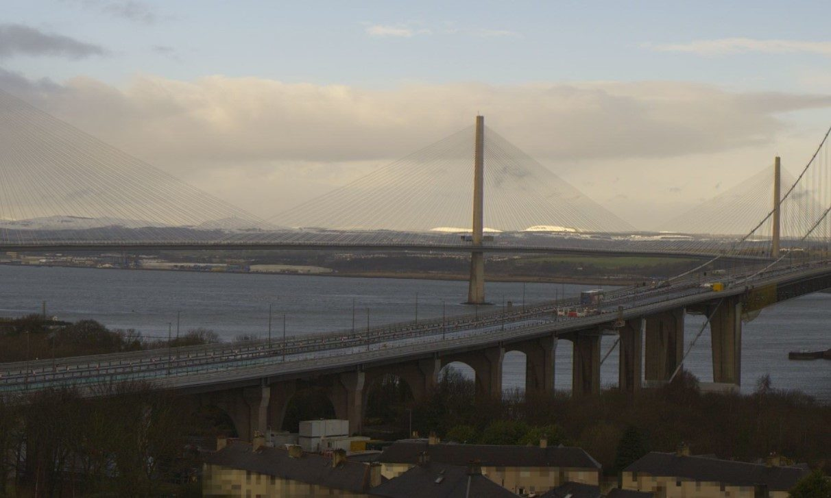 Forth Road Bridge this morning with the Queensferry Crossing in the background.
