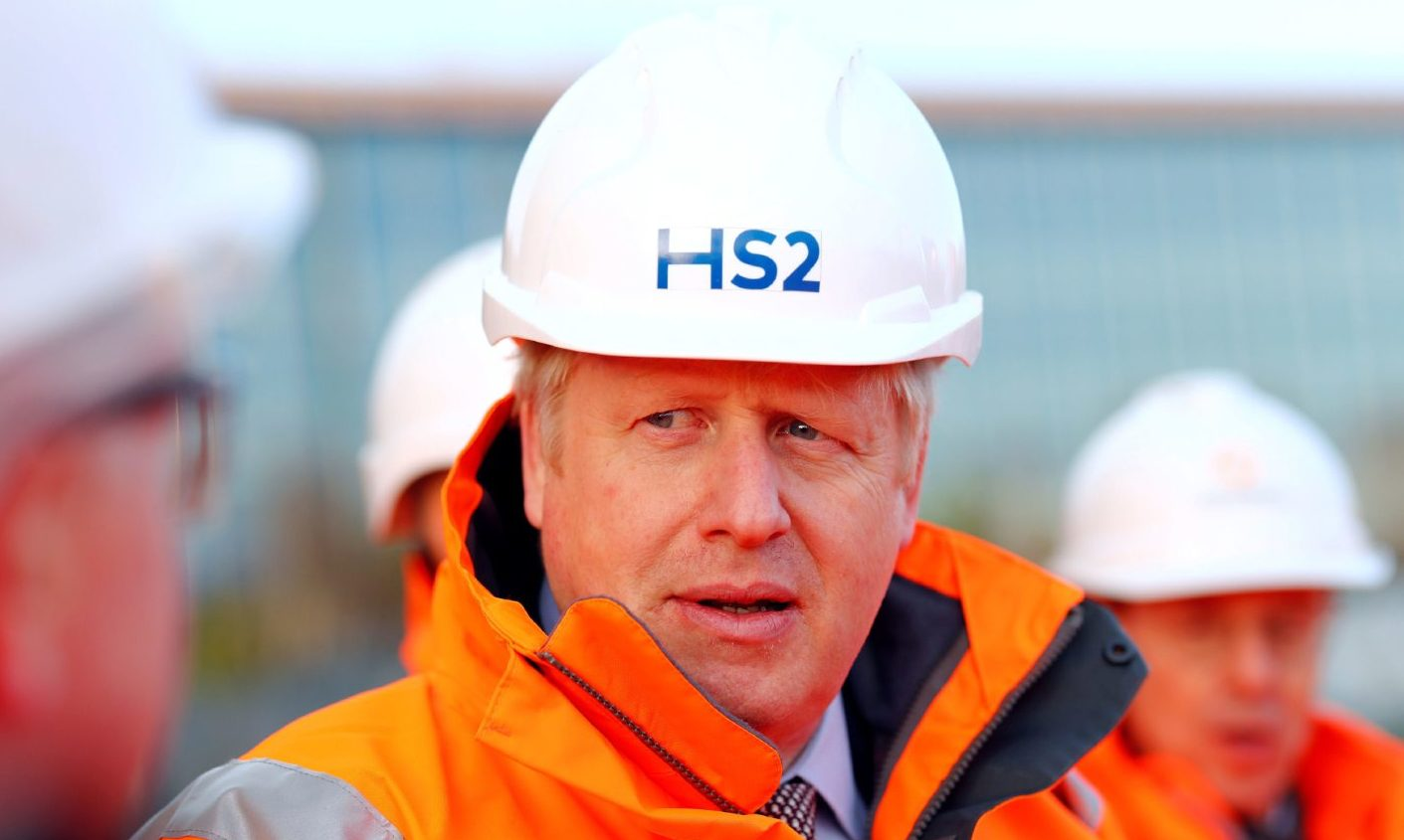 Prime Minister Boris Johnson during a visit to Curzon Street railway station in Birmingham where the HS2 rail project is under construction.