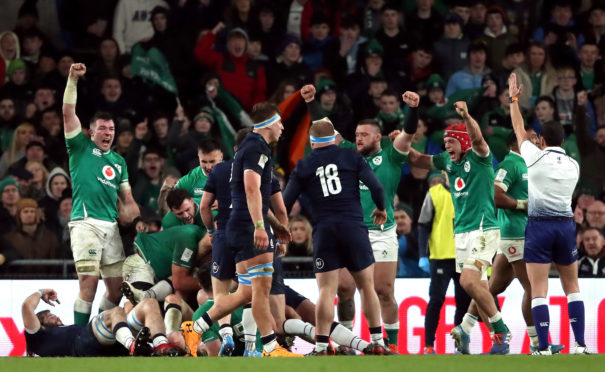 Scotland are denied at the death again by the Irish defence in Dublin.