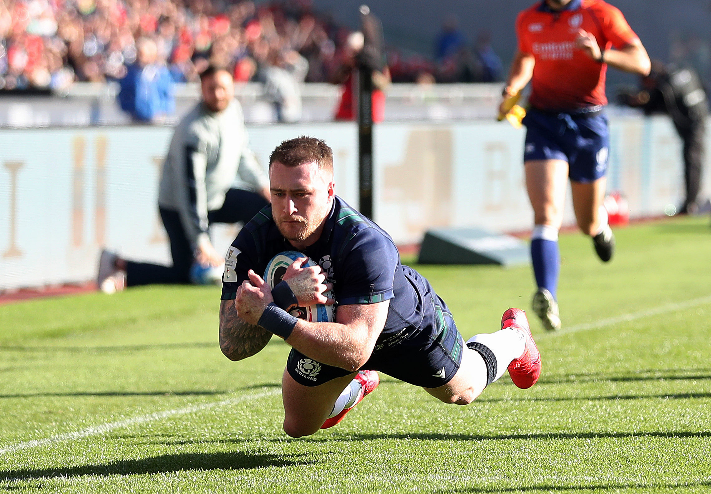 Scotland's Stuart Hogg scores his side's first try.