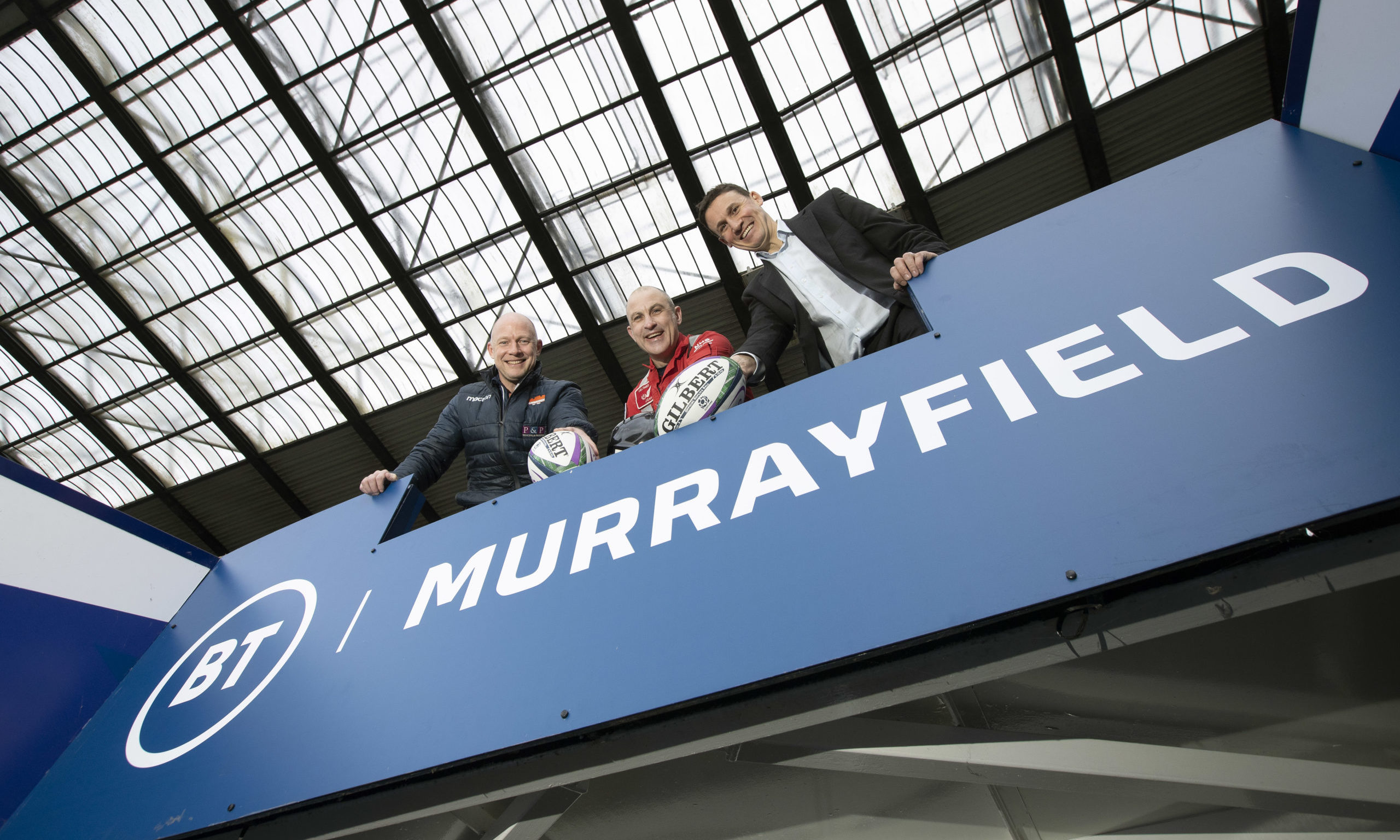Scottish Rugby heroes Duncan Hodge (left) and Craig Joiner (right) and SCAA Lead Paramedic John Prichard (centre) are backing SCAA Superhero Charity Abseil at Murrayfield.