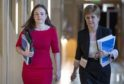 Kate Forbes with First Minister Nicola Sturgeon as she prepared to present the Scottish Budget plans to Parliament on February 6.