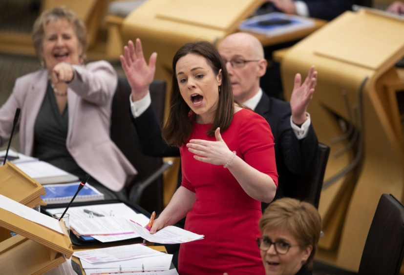 Public finance minister Kate Forbes unveils the Scottish Government's spending pledges for the next financial year in the debating chamber at the Scottish Parliament.