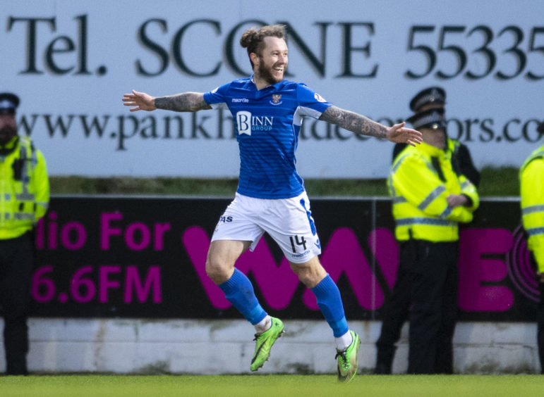 Stevie May celebrates making it 3-2 during Premiership match with Hearts at McDiarmid ParkStevie May celebrates making it 3-2 during Premiership match with Hearts at McDiarmid Park in February in February