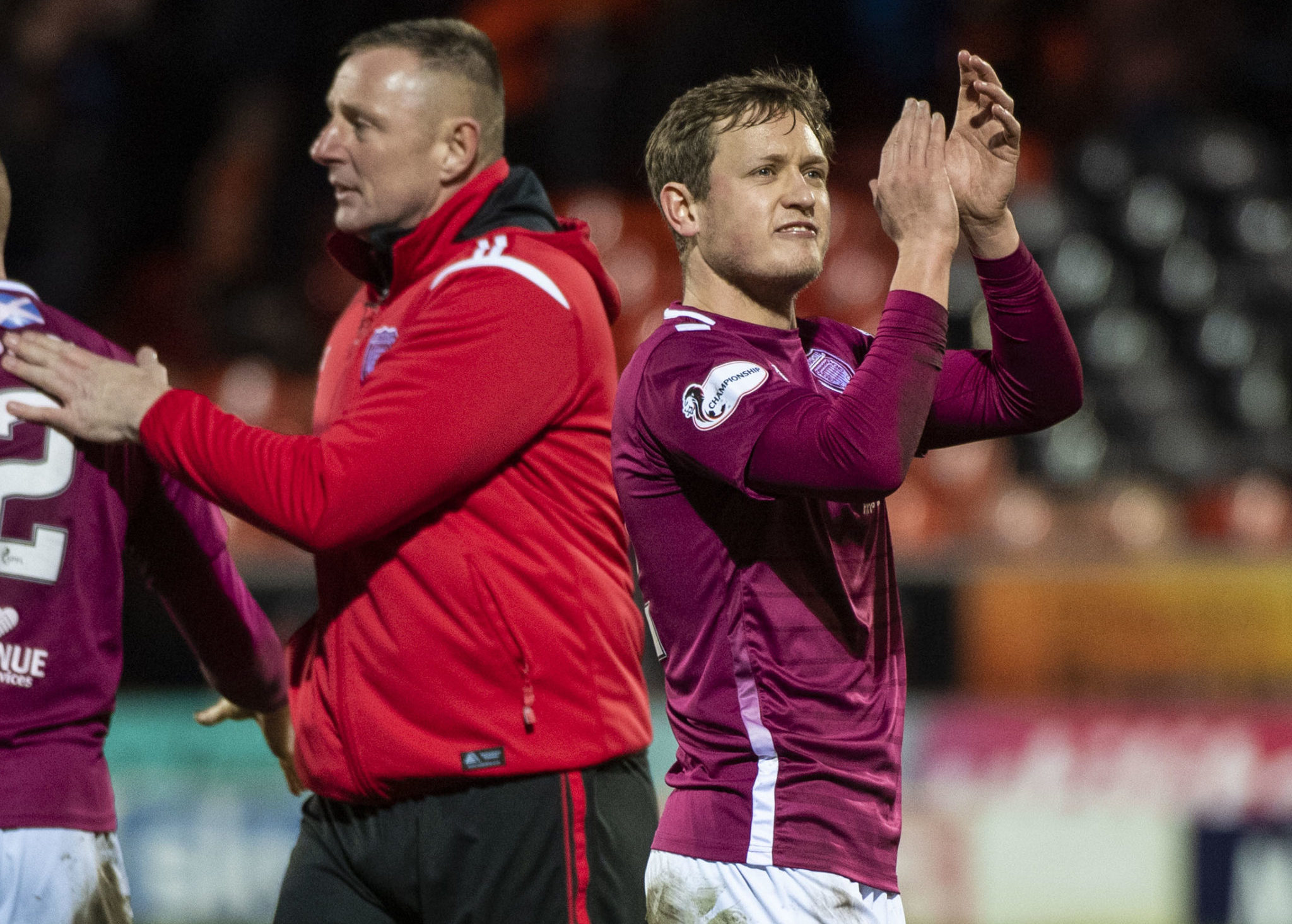 Rab, left, and new Arbroath signing James Craigen celebrate at full-time.