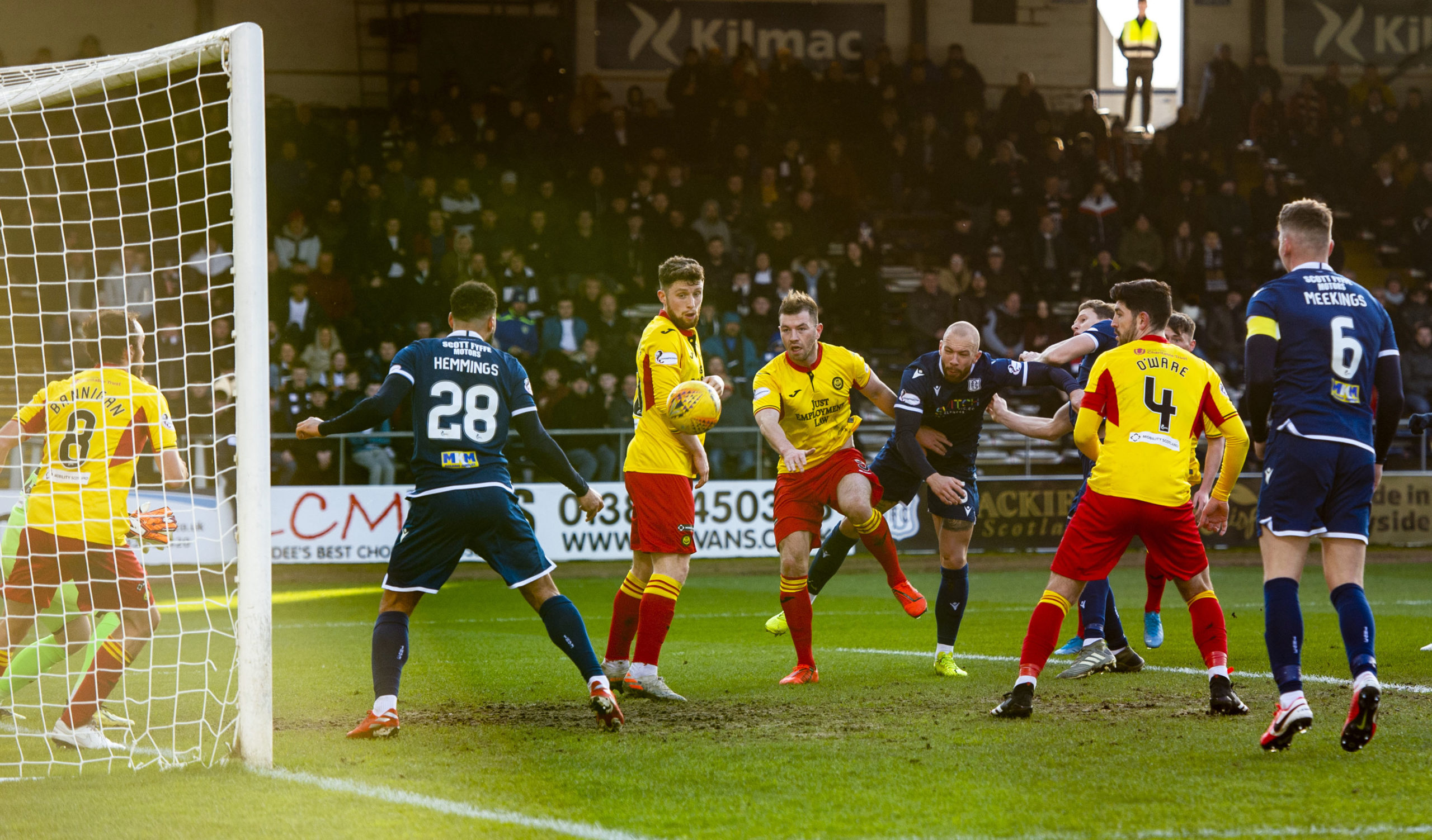 Kane Hemmings (28) gets ready to nick the opening goal.