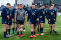 Rory Sutherland. Zander Fagerson, Adam Hastings and Sam Johnson with members of Scotland's Under-20 side during the public training session at Oriam.