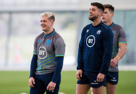 Darcy Graham (L) and Adam Hastings at Scotland training.