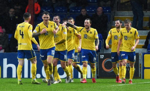 Saints' players celebrate Stevie May's goal at Ross County.