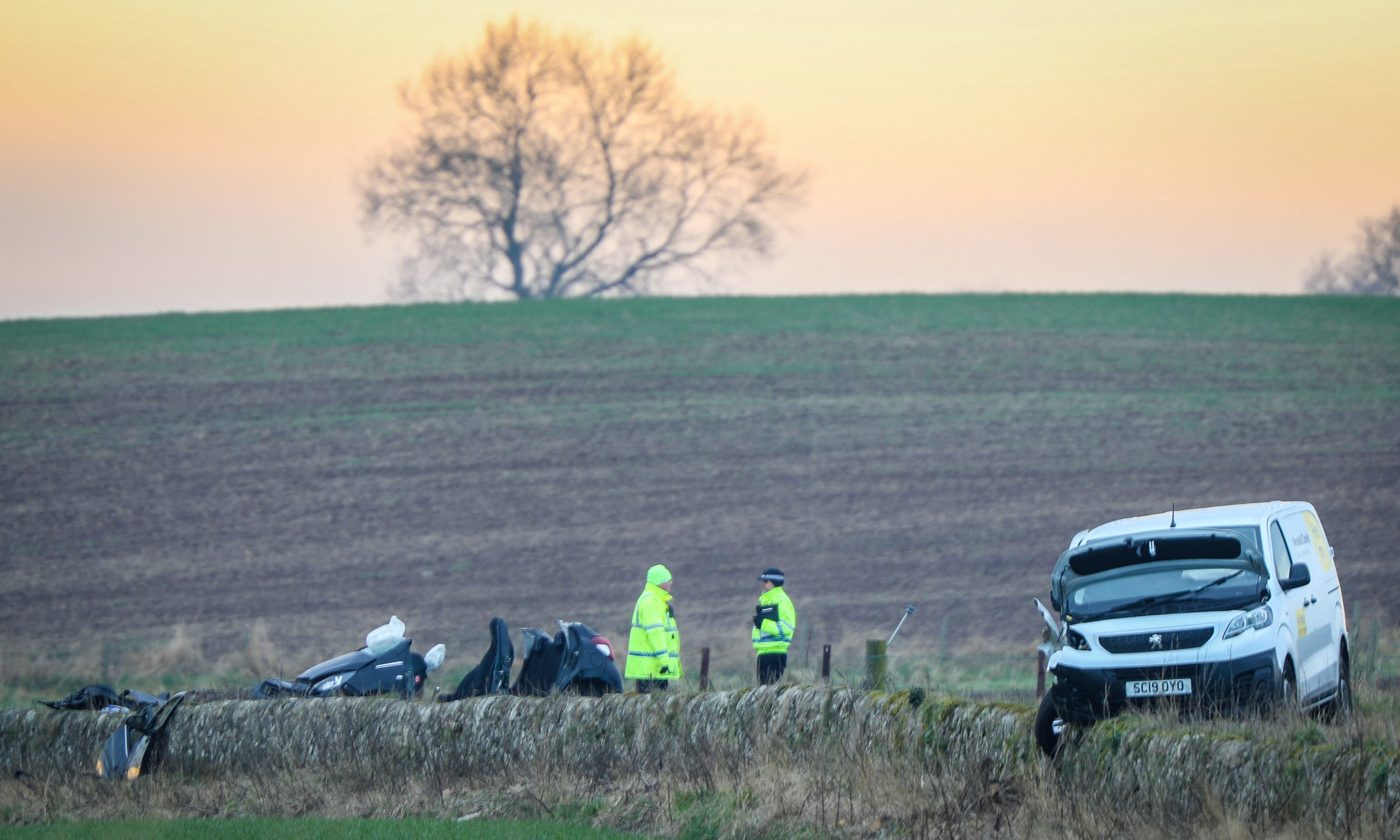 The scene of the crash on the A91 near Cupar.