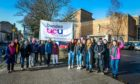 Staff striking outside Dundee University on Perth Road