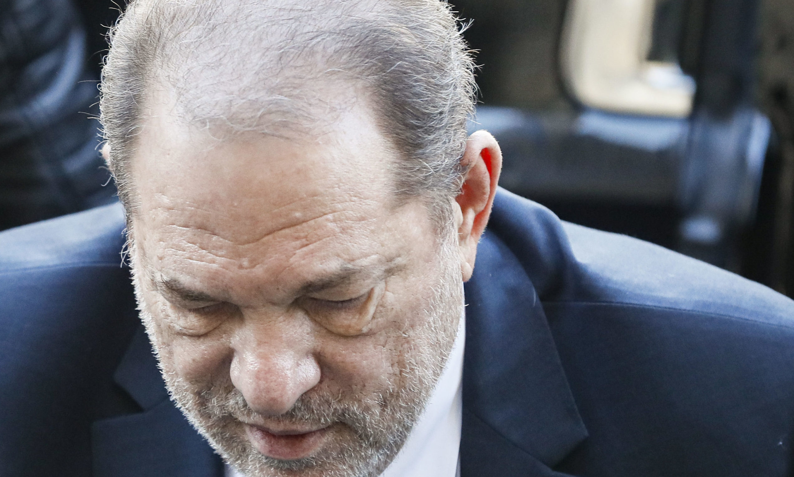 Harvey Weinstein arrives at a Manhattan courthouse for his rape trial on Monday, Feb. 24, 2020.