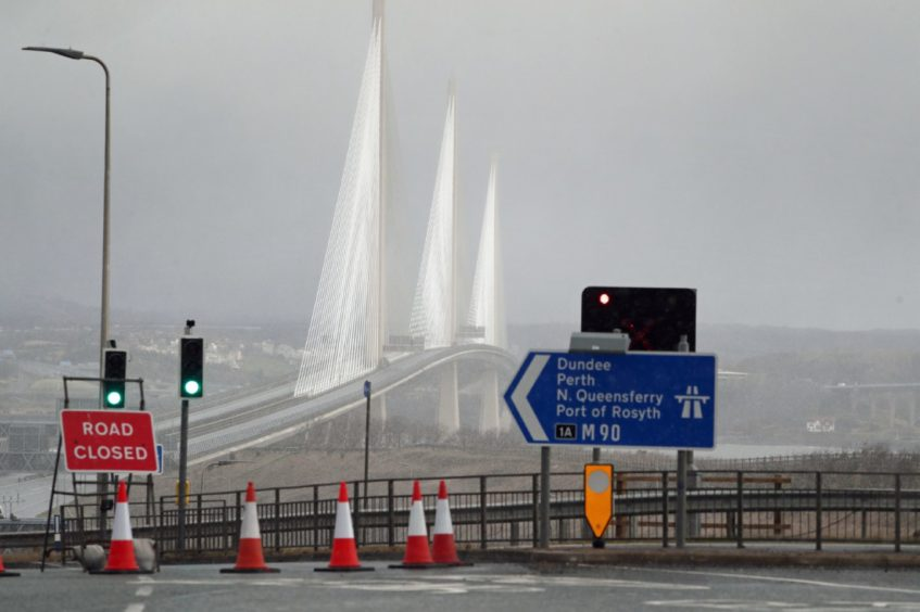 Diversions put in place at the Queensferry Crossing after it was closed due to bad weather on February 11, 2020.