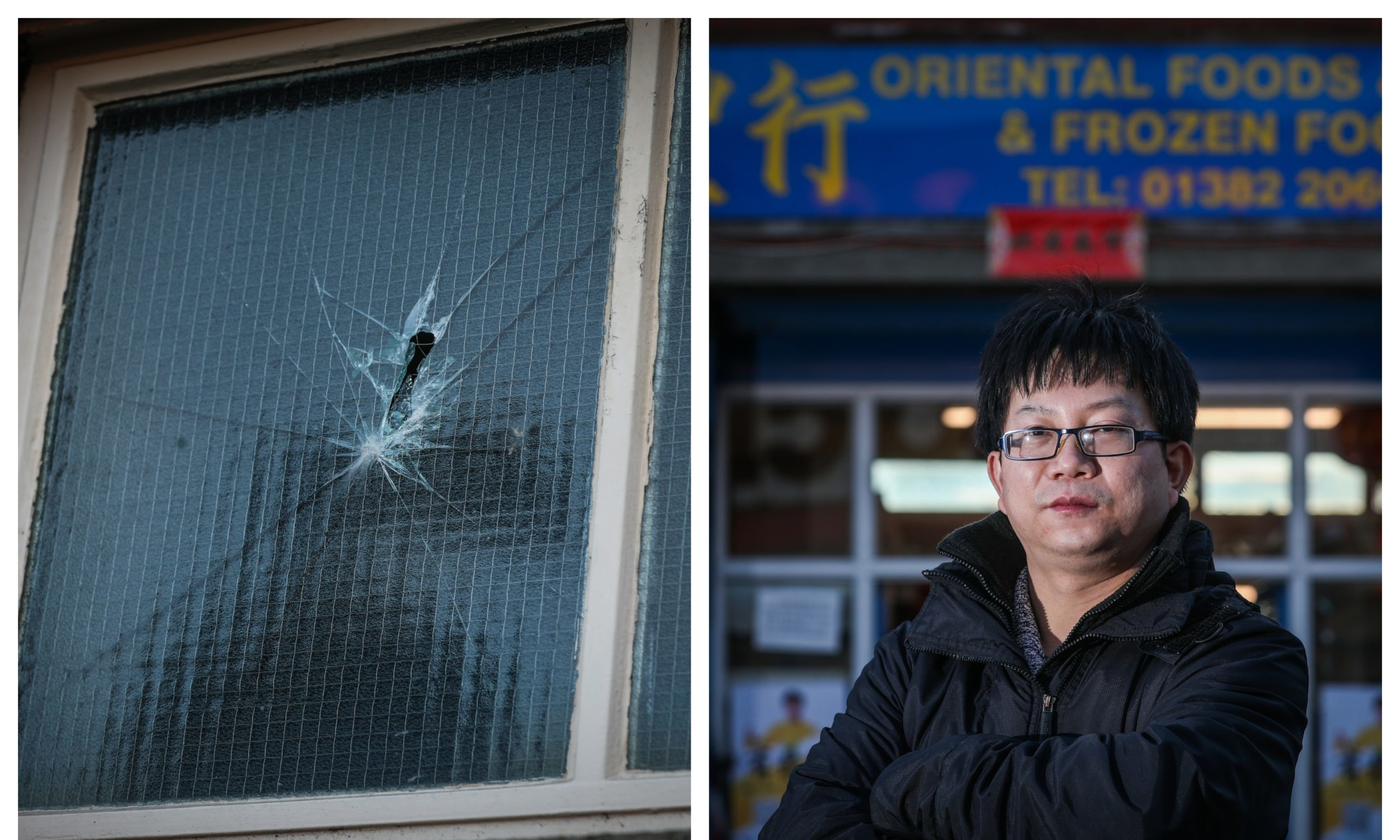 Bryan Chen and one of the vandalised windows