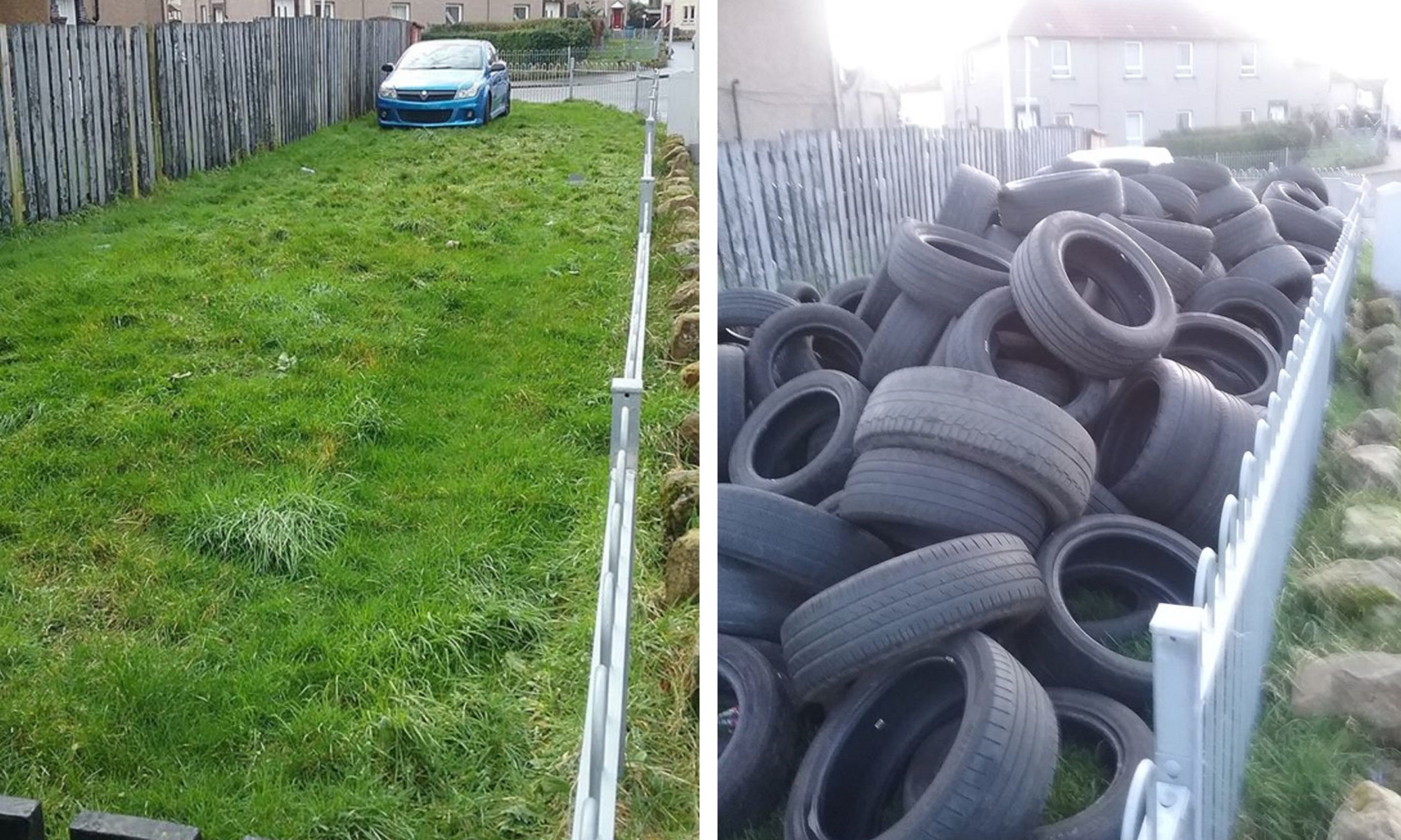 After and before photos of the fly-tipping.