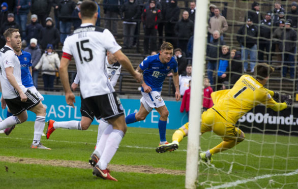 Callum Hendry scores Saints' second.