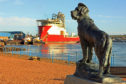 General view of the Bamse statue, at Montrose harbour.