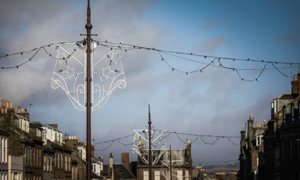 General views of Montrose High Street with the Christmas lights still up. Mhairi Edwards/DCT Media