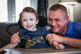 Cameron Gilmour, 4 with his dad Jim.
