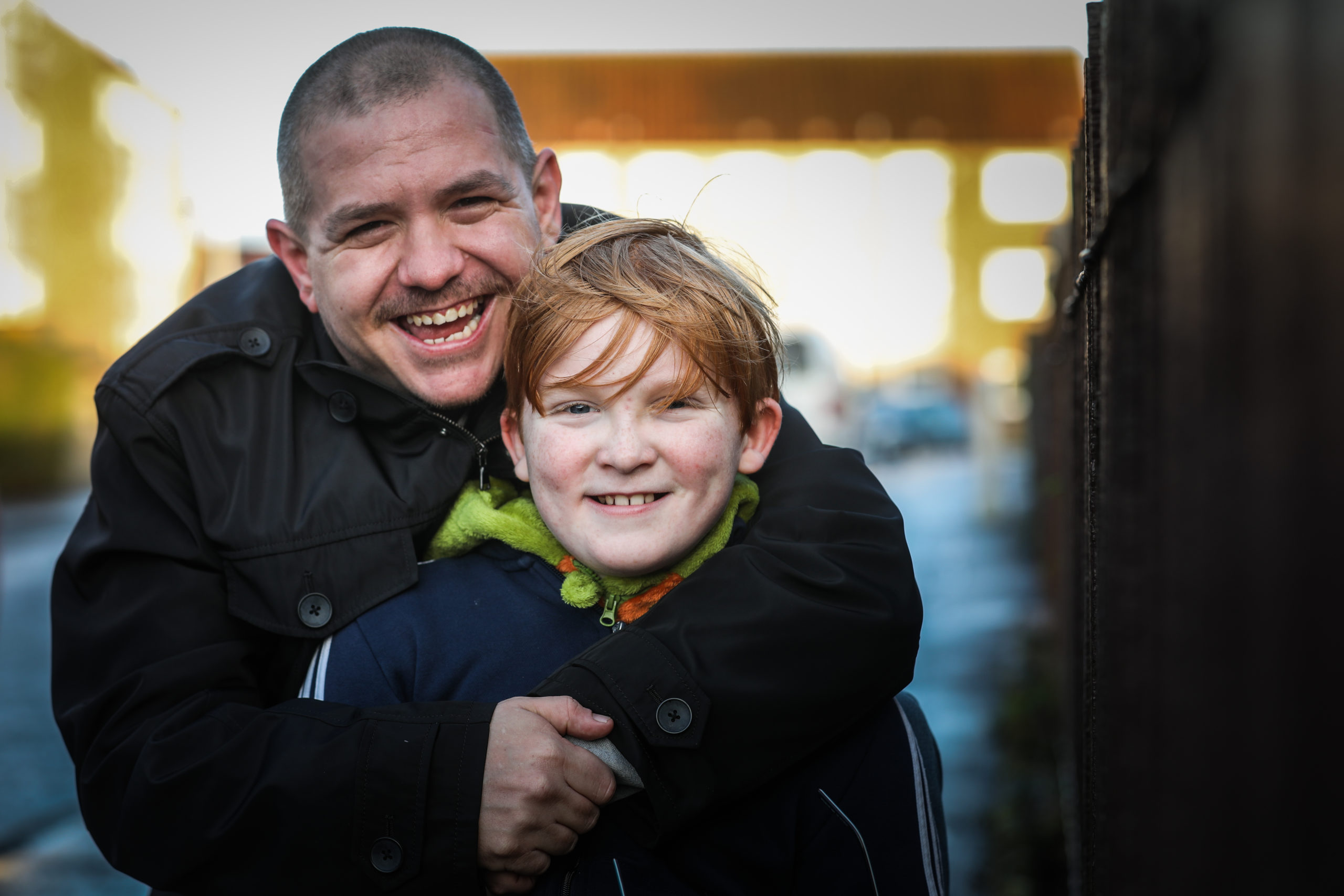 James McMahon, 11 and his stepdad Arthur Adlam.