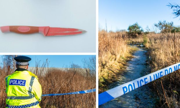 The knife used in the attack and police at the scene of the crime in Methil.