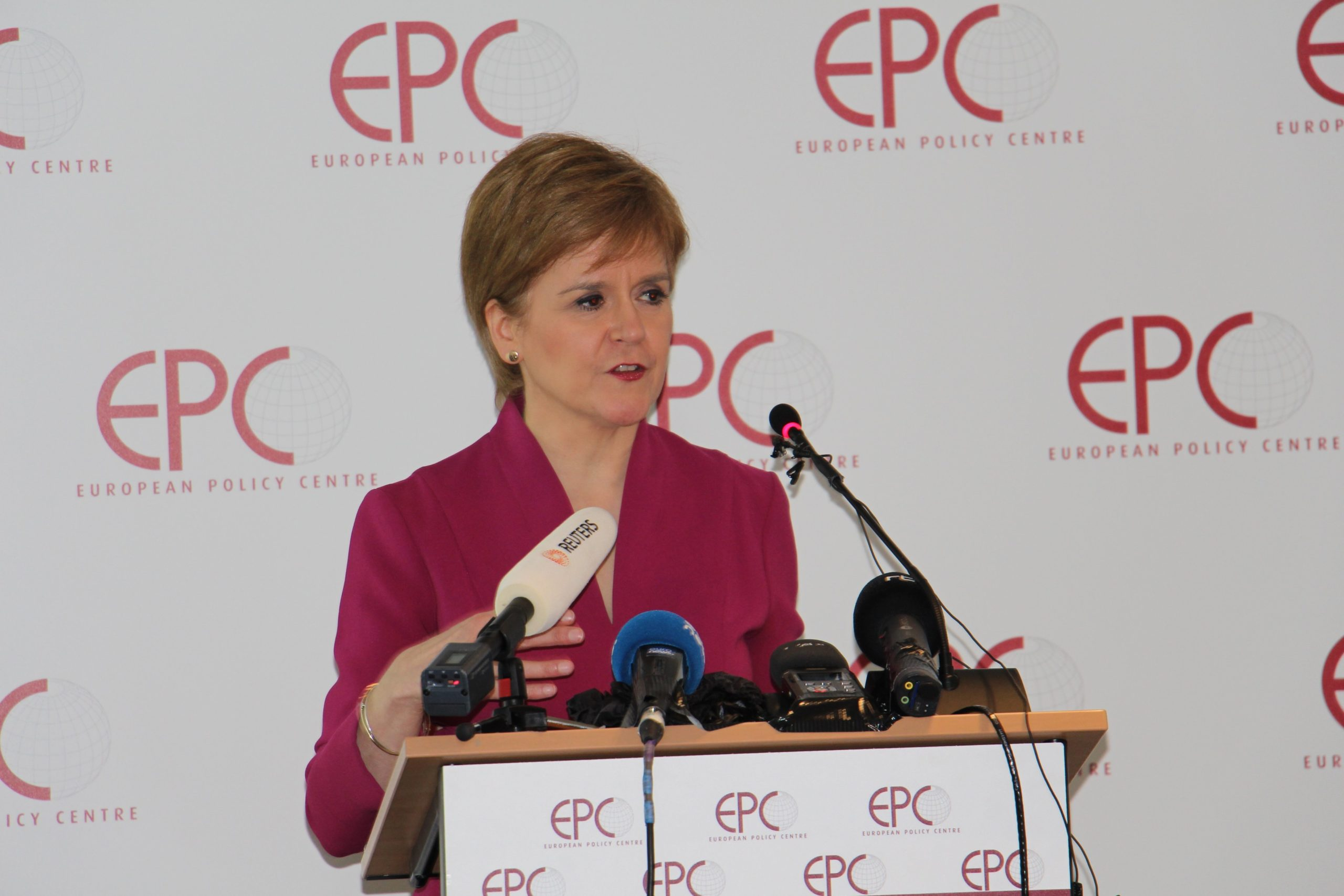 Nicola Sturgeon speaking at the European Policy Centre.