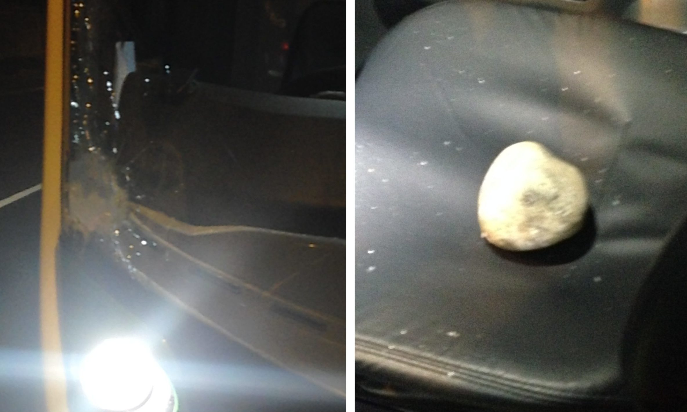 The rock thrown and the damage to the bus windscreen.