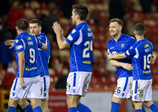 St Johnstone celebrate their win.