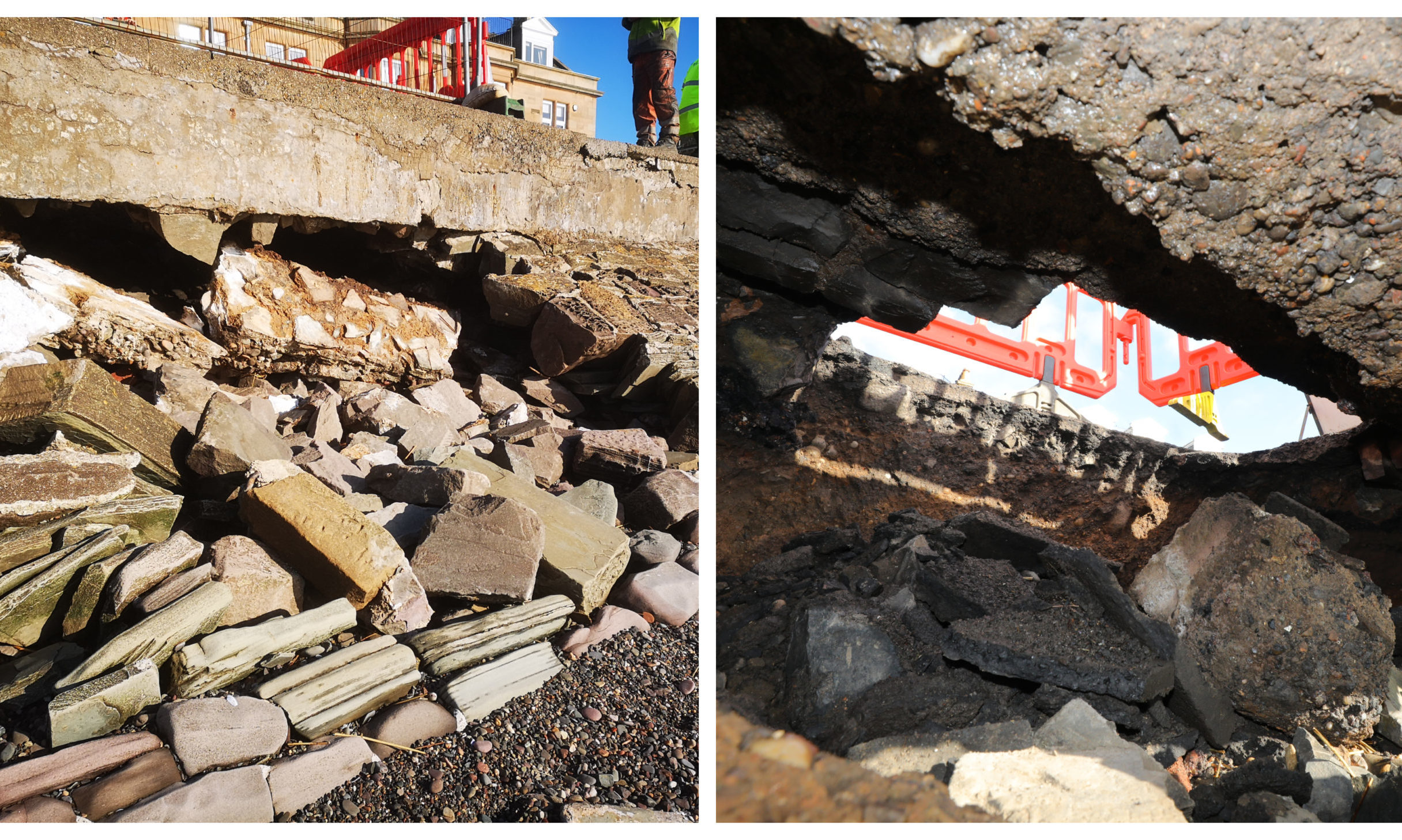 The collapsed seawall in Broughty Ferry.