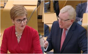 Nicola Sturgeon and Jackson Carlaw at FMQs on February 20.