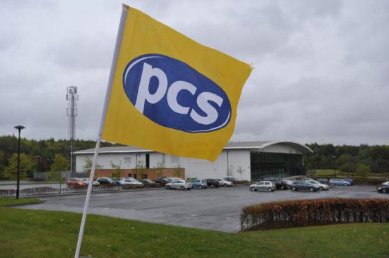 Sidlaw House with a PCS Trade Union flag outside