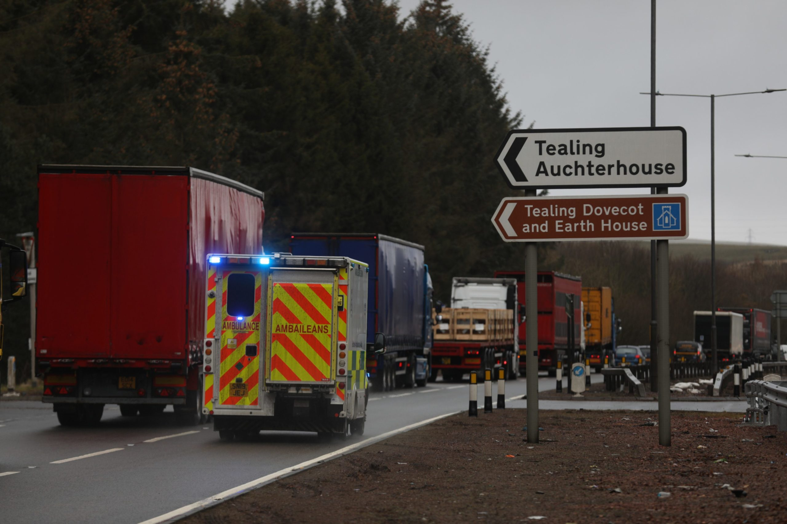 The scene on the A90 close to the crash between Dundee and Forfar.