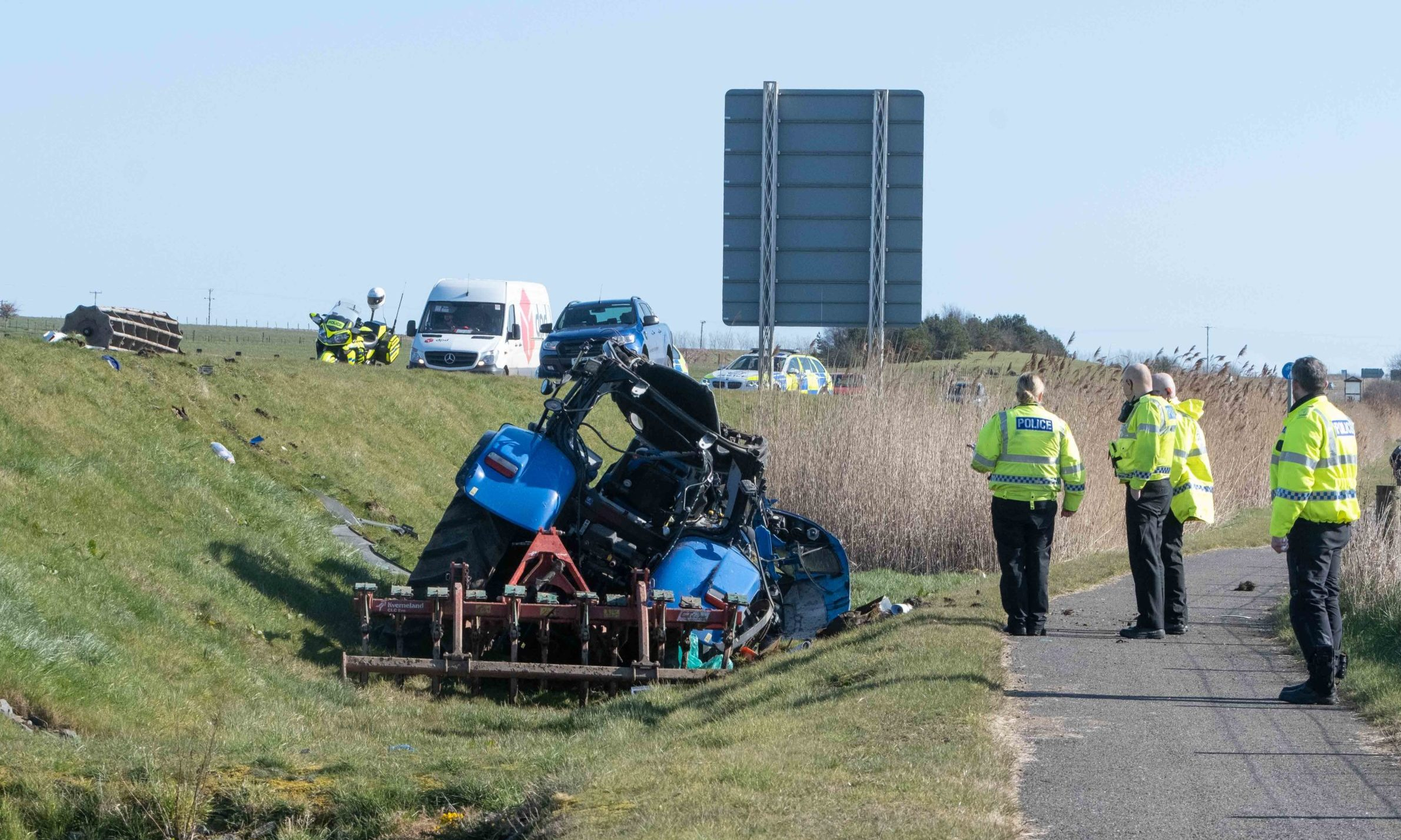 The scene of the crash on the A92 near Carnoustie.