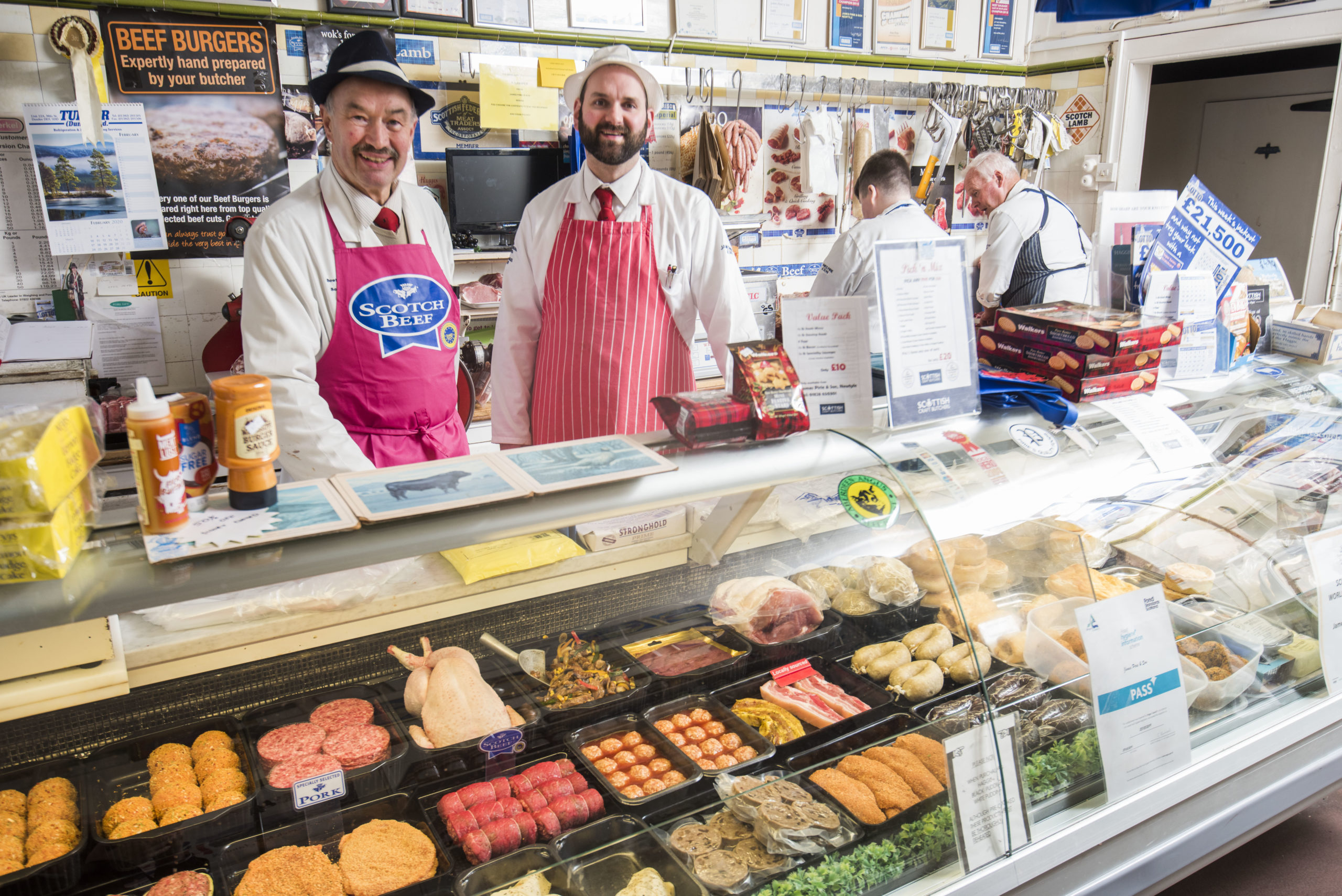 Alan Pirie with butcher Steven Fraser.