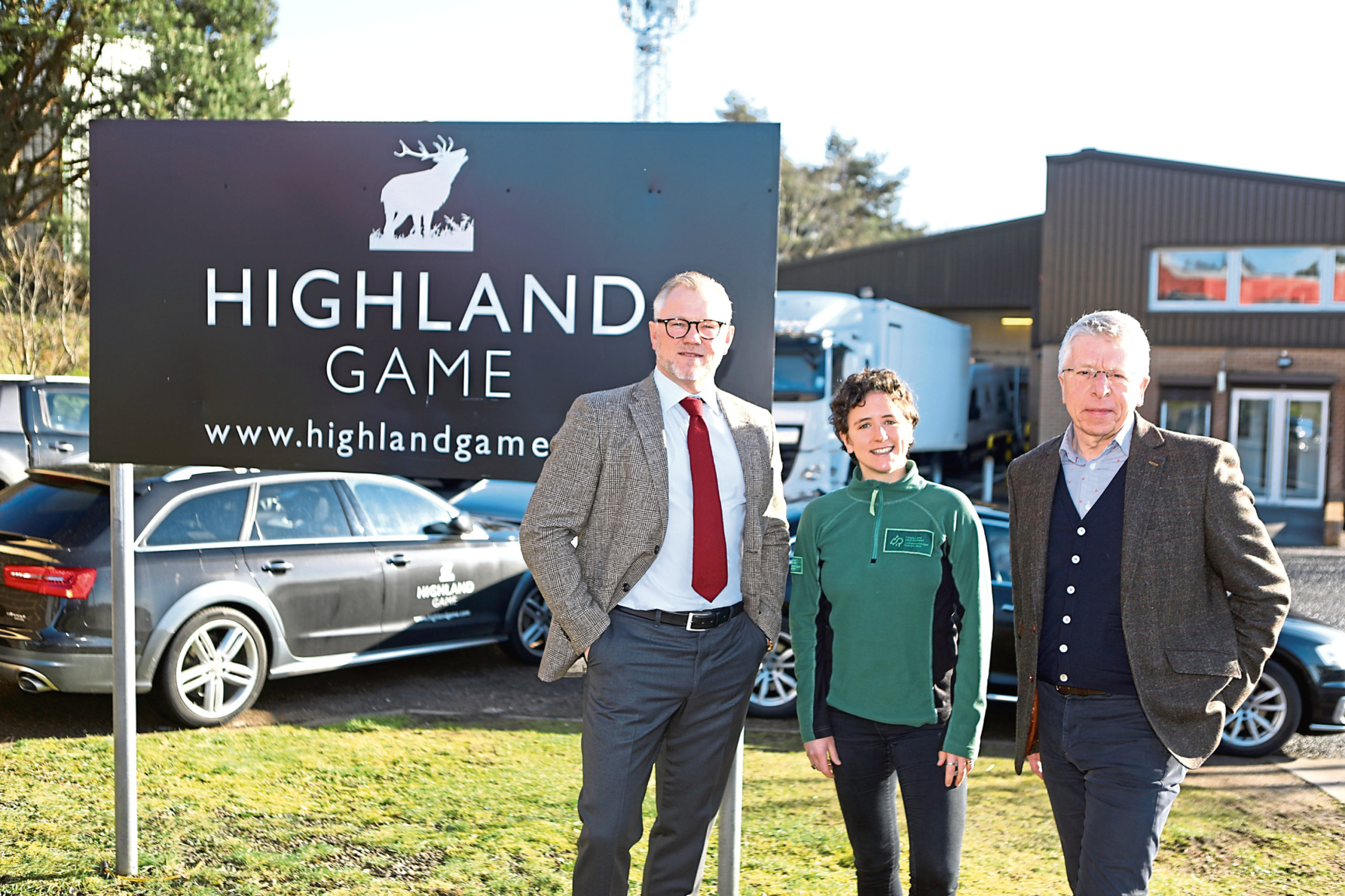 with Christian Nissen,  managing director of Highland Game,  Rural Affairs Minister, Mairi Gougeon and Simon Hodgson, chief executive Highland Game. Picture: Dougie Nicolson.