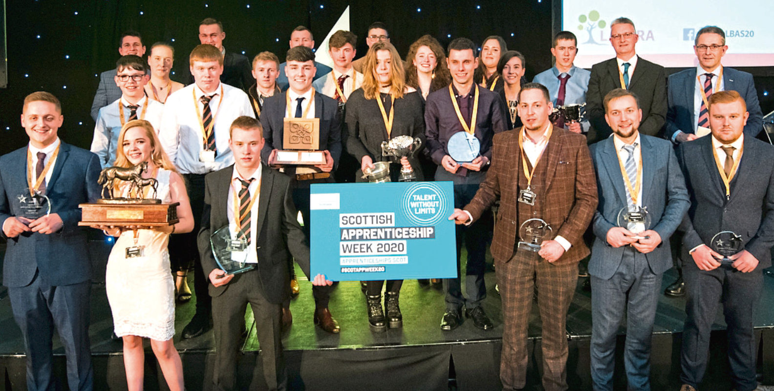 Proud line-up of the winners of Lantra Scotland's Awards for Land-based and Aquaculture Skills.