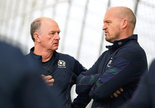 Sctoland head coach Gregor Townsend - with team doctor James Robson (L).
