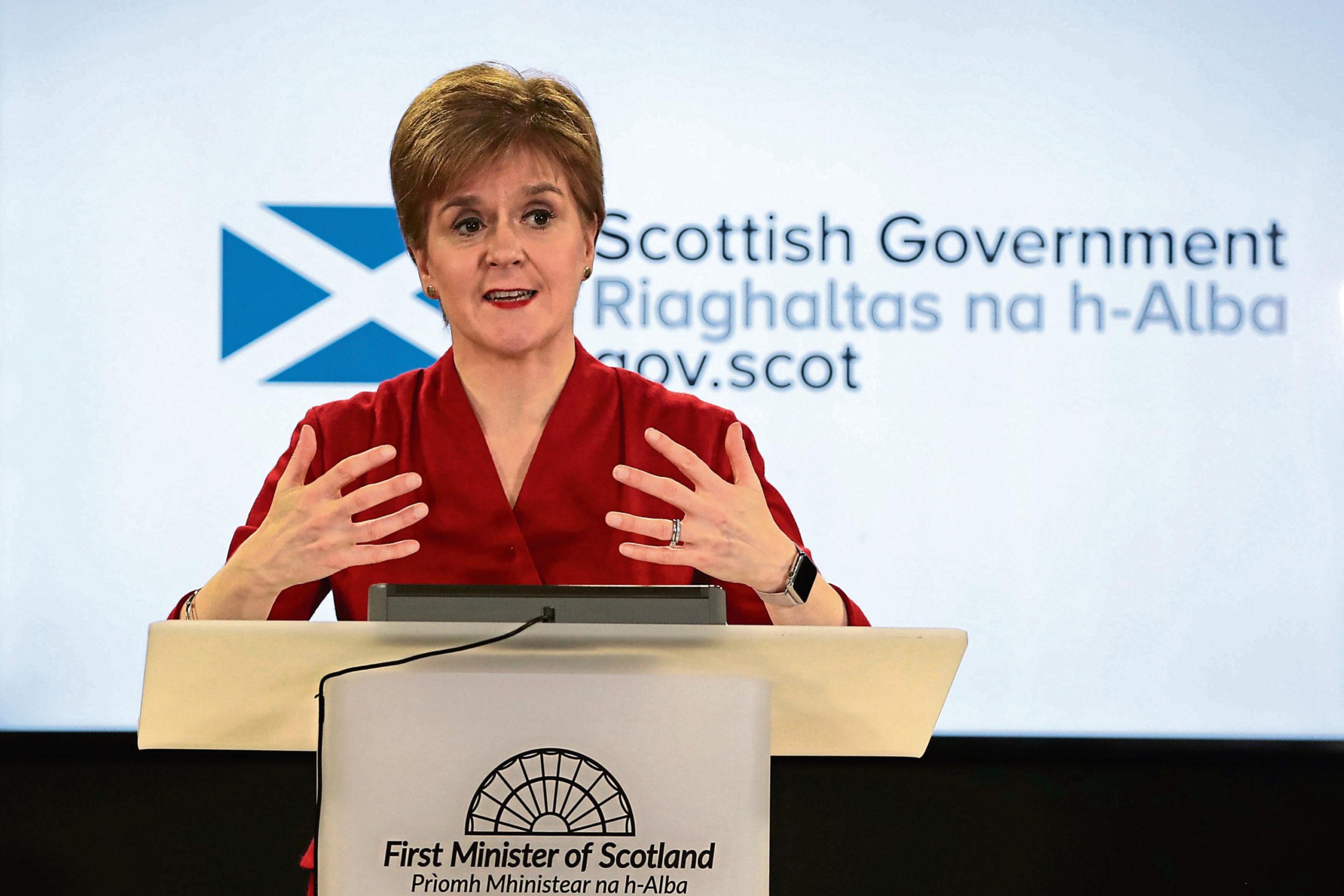 Nicola Sturgeon at a coronavirus briefing.